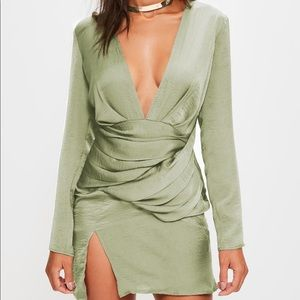 Missguided Green Silky Shift Dress